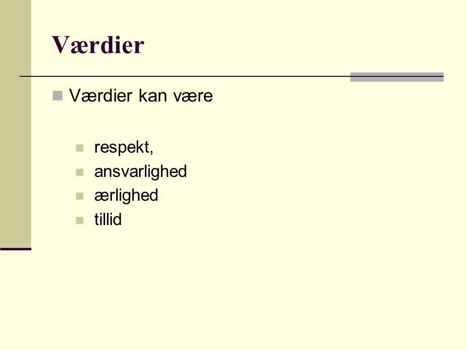 Værdier Værdier kan være respekt, ansvarlighed ærlighed tillid