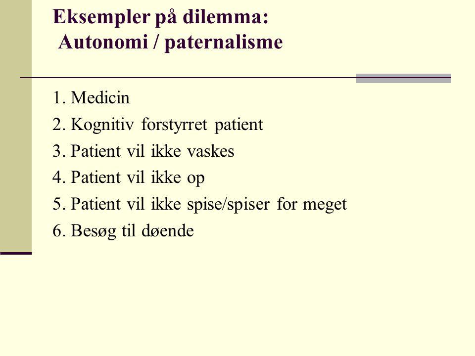 Eksempler på dilemma: Autonomi / paternalisme