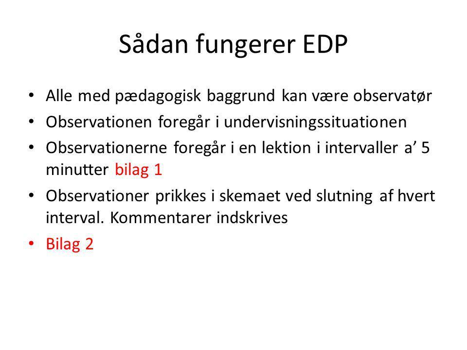 Sådan fungerer EDP Alle med pædagogisk baggrund kan være observatør