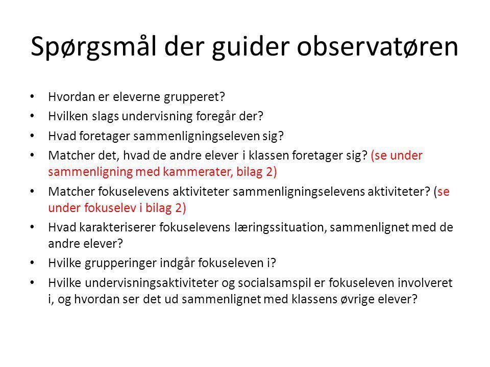 Spørgsmål der guider observatøren