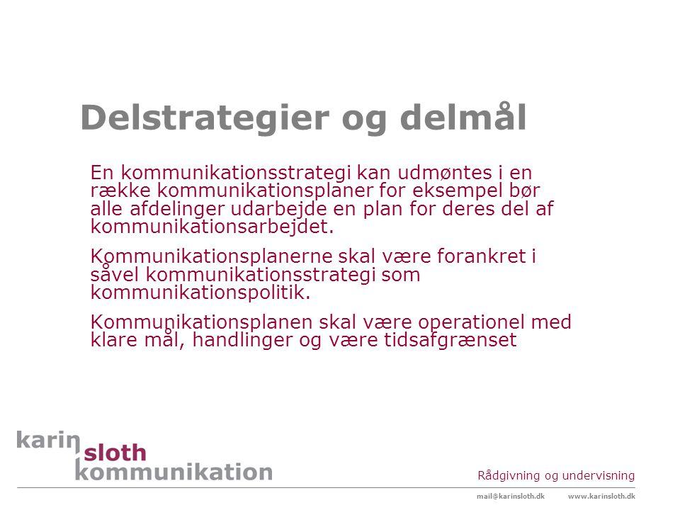 Delstrategier og delmål