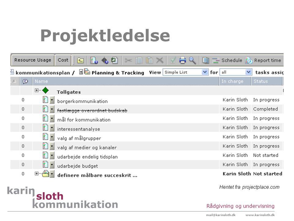 Projektledelse Hentet fra projectplace.com Rådgivning og undervisning
