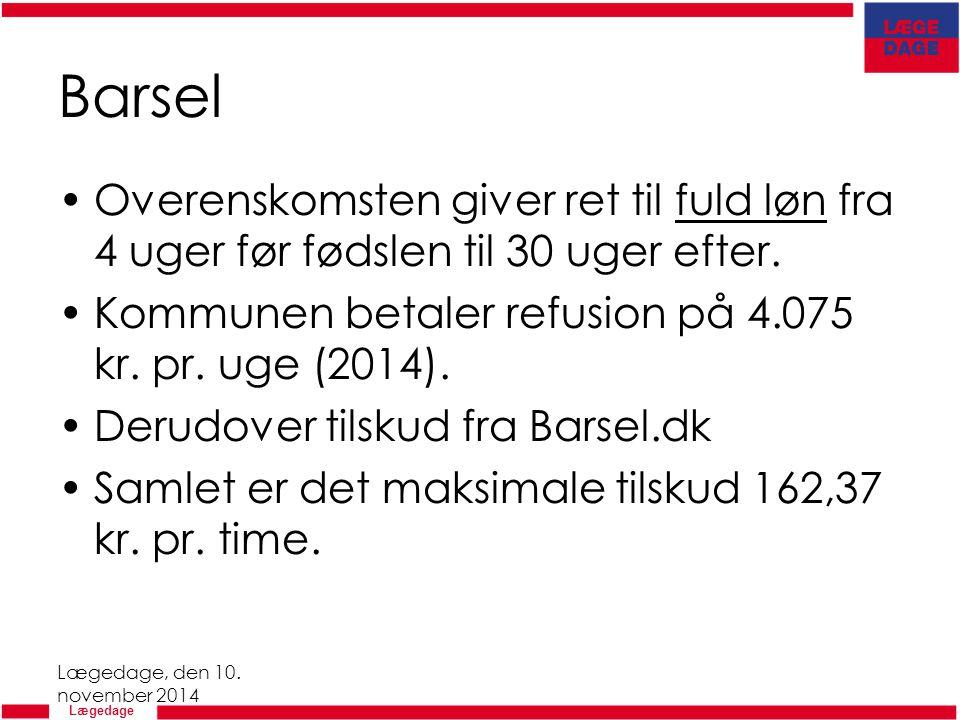 Barsel Overenskomsten giver ret til fuld løn fra 4 uger før fødslen til 30 uger efter. Kommunen betaler refusion på 4.075 kr. pr. uge (2014).