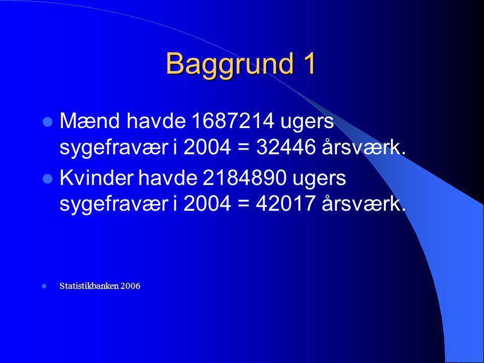 Baggrund 1 Mænd havde 1687214 ugers sygefravær i 2004 = 32446 årsværk.