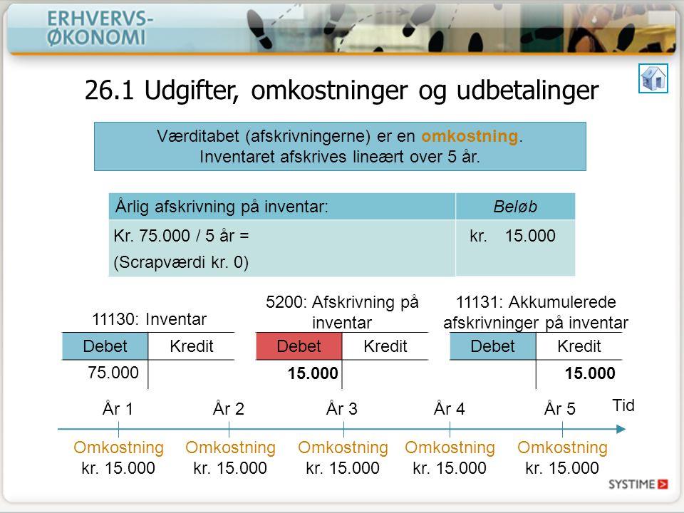 26.1 Udgifter, omkostninger og udbetalinger