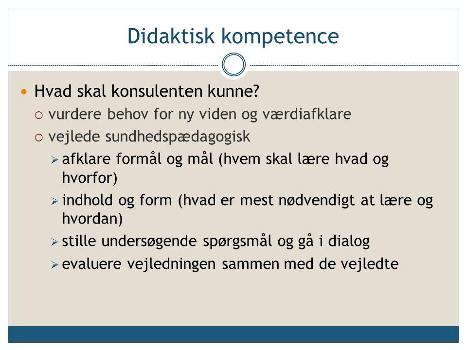 Didaktisk kompetence Hvad skal konsulenten kunne