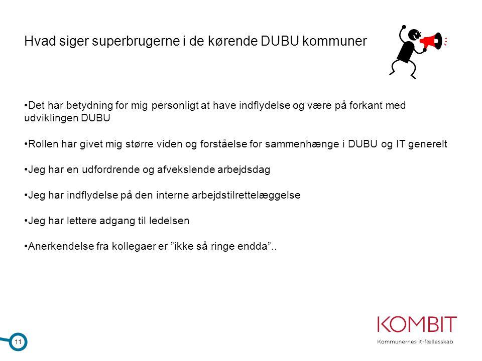 Hvad siger superbrugerne i de kørende DUBU kommuner