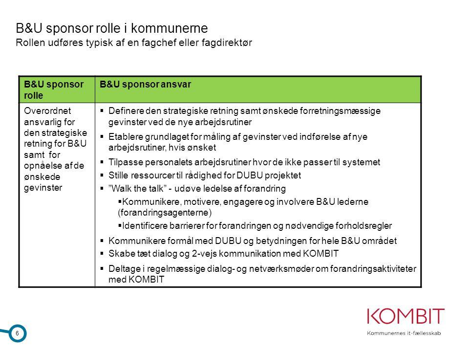 B&U sponsor rolle i kommunerne Rollen udføres typisk af en fagchef eller fagdirektør