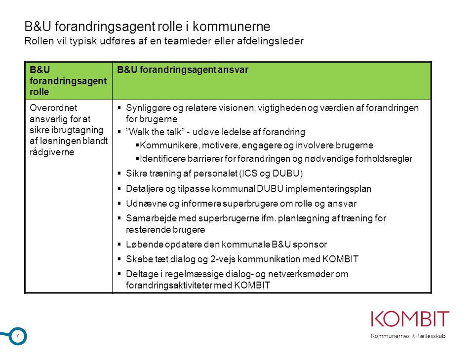 B&U forandringsagent rolle i kommunerne Rollen vil typisk udføres af en teamleder eller afdelingsleder