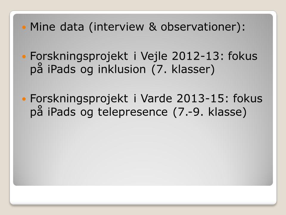 Mine data (interview & observationer):