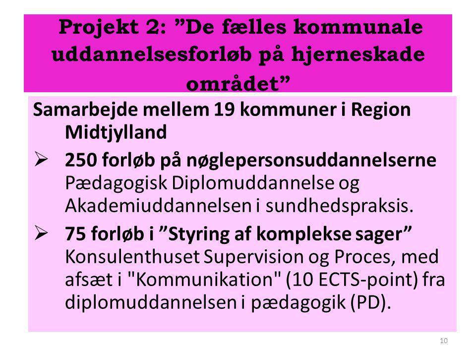 Projekt 2: De fælles kommunale uddannelsesforløb på hjerneskade området