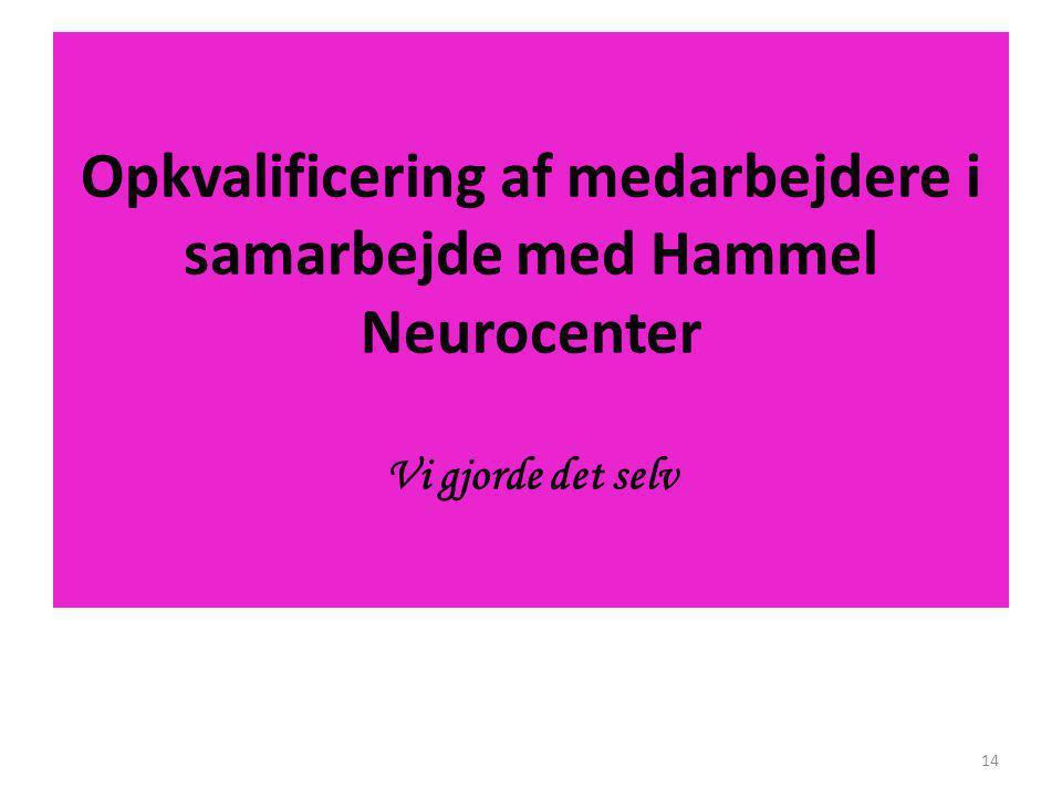 Opkvalificering af medarbejdere i samarbejde med Hammel Neurocenter Vi gjorde det selv