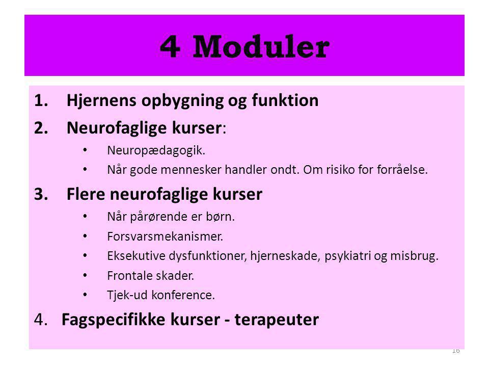 4 Moduler Hjernens opbygning og funktion Neurofaglige kurser: