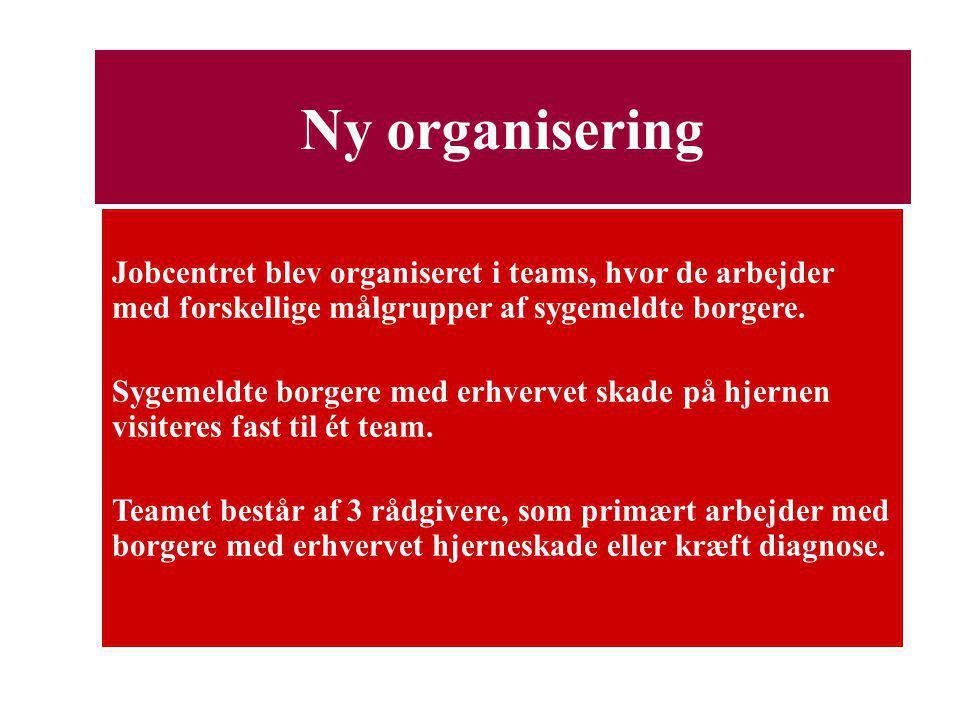 Ny organisering Jobcentret blev organiseret i teams, hvor de arbejder med forskellige målgrupper af sygemeldte borgere.