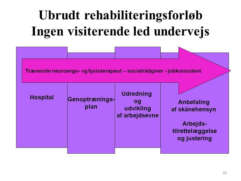 Ubrudt rehabiliteringsforløb Ingen visiterende led undervejs