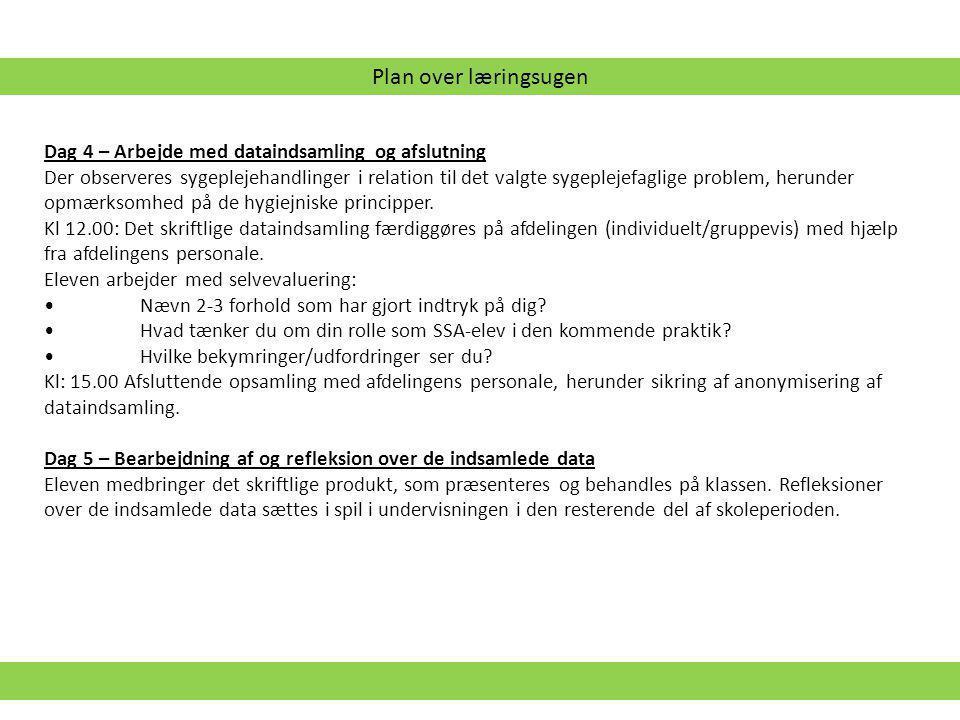 Plan over læringsugen Dag 4 – Arbejde med dataindsamling og afslutning