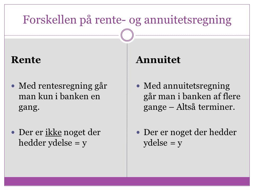 Forskellen på rente- og annuitetsregning
