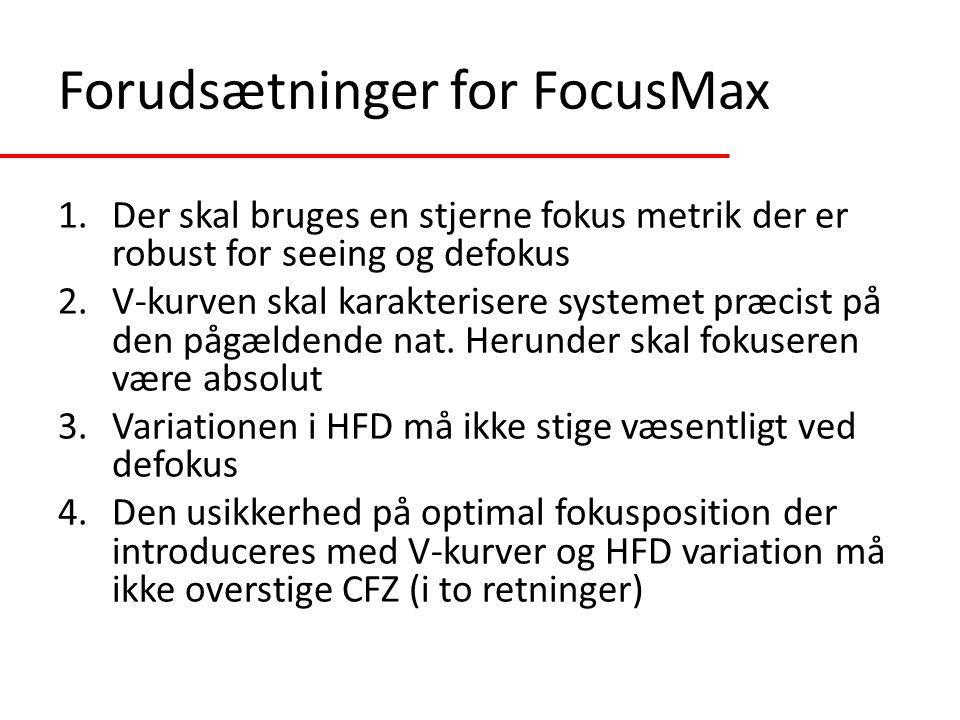 Forudsætninger for FocusMax