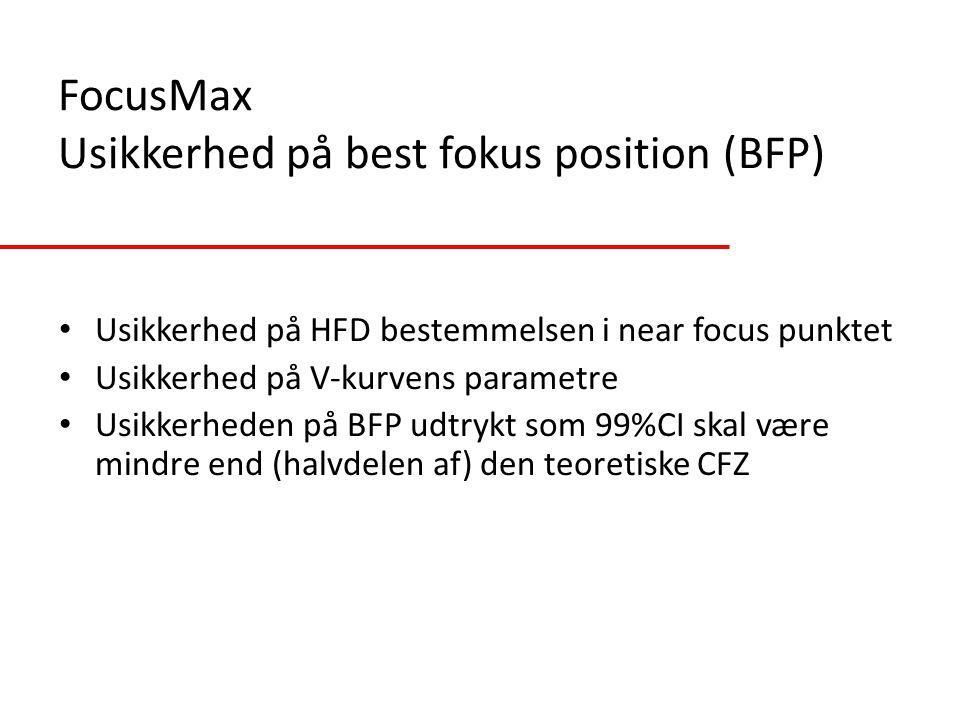 FocusMax Usikkerhed på best fokus position (BFP)