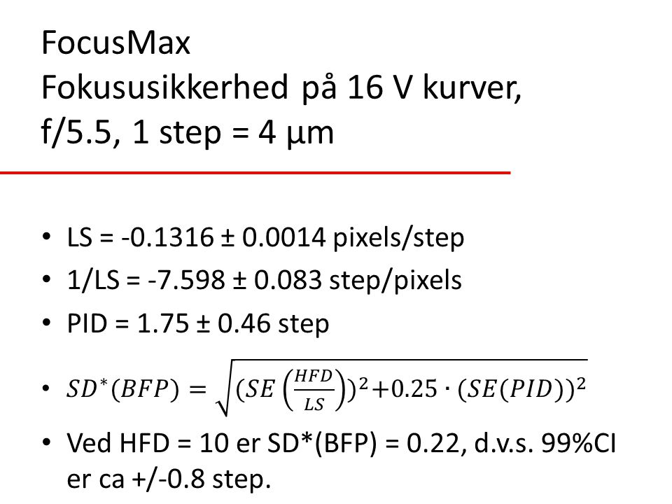 FocusMax Fokususikkerhed på 16 V kurver, f/5.5, 1 step = 4 µm