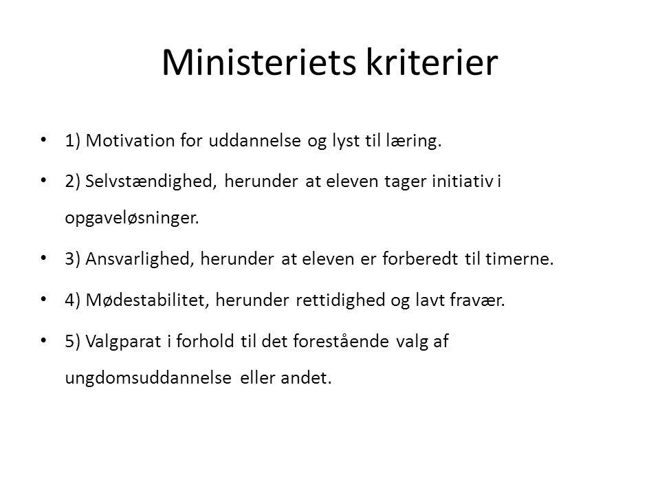 Ministeriets kriterier