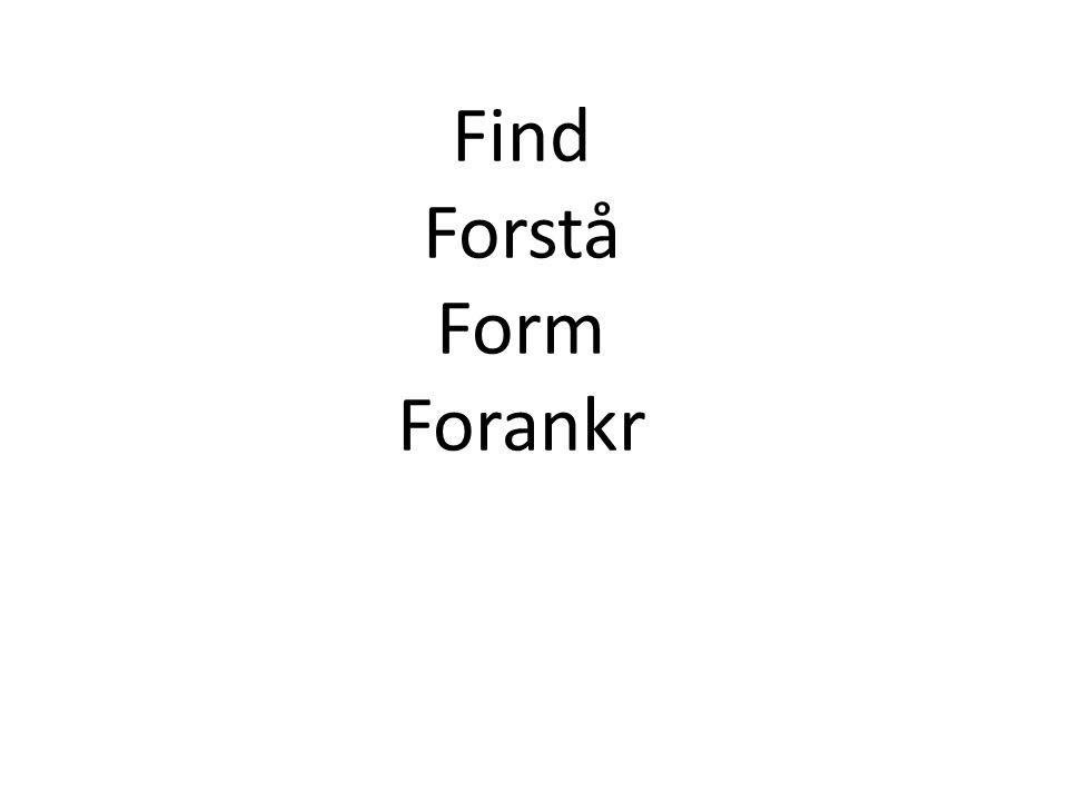 Find Forstå Form Forankr