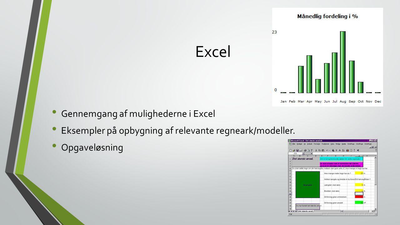 Excel Gennemgang af mulighederne i Excel