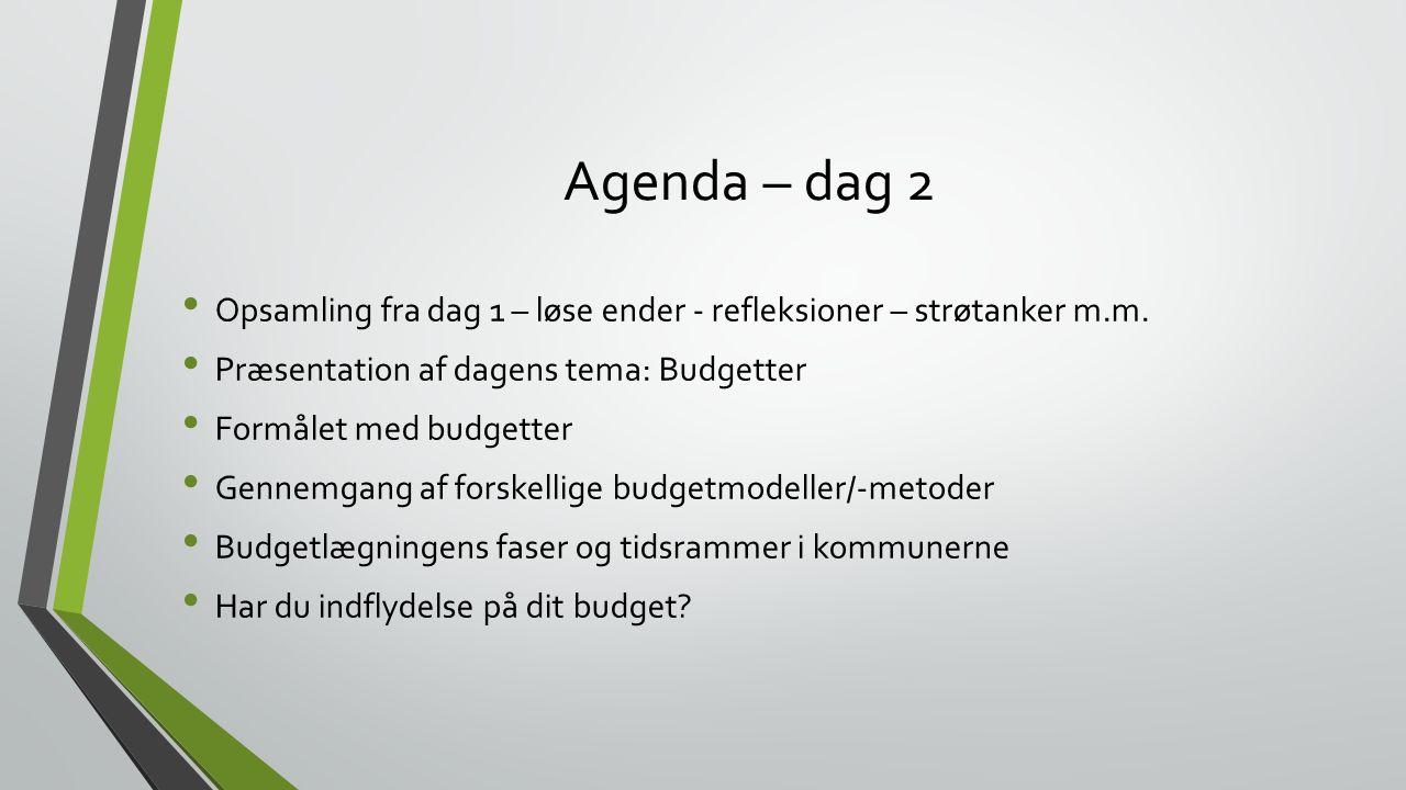 Agenda – dag 2 Opsamling fra dag 1 – løse ender - refleksioner – strøtanker m.m. Præsentation af dagens tema: Budgetter.