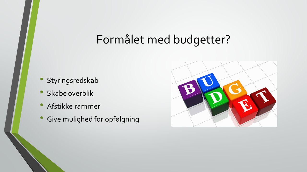 Formålet med budgetter