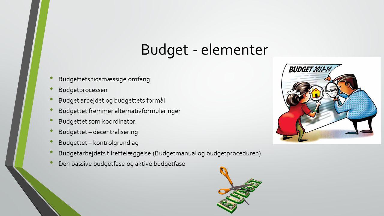 Budget - elementer Budgettets tidsmæssige omfang Budgetprocessen