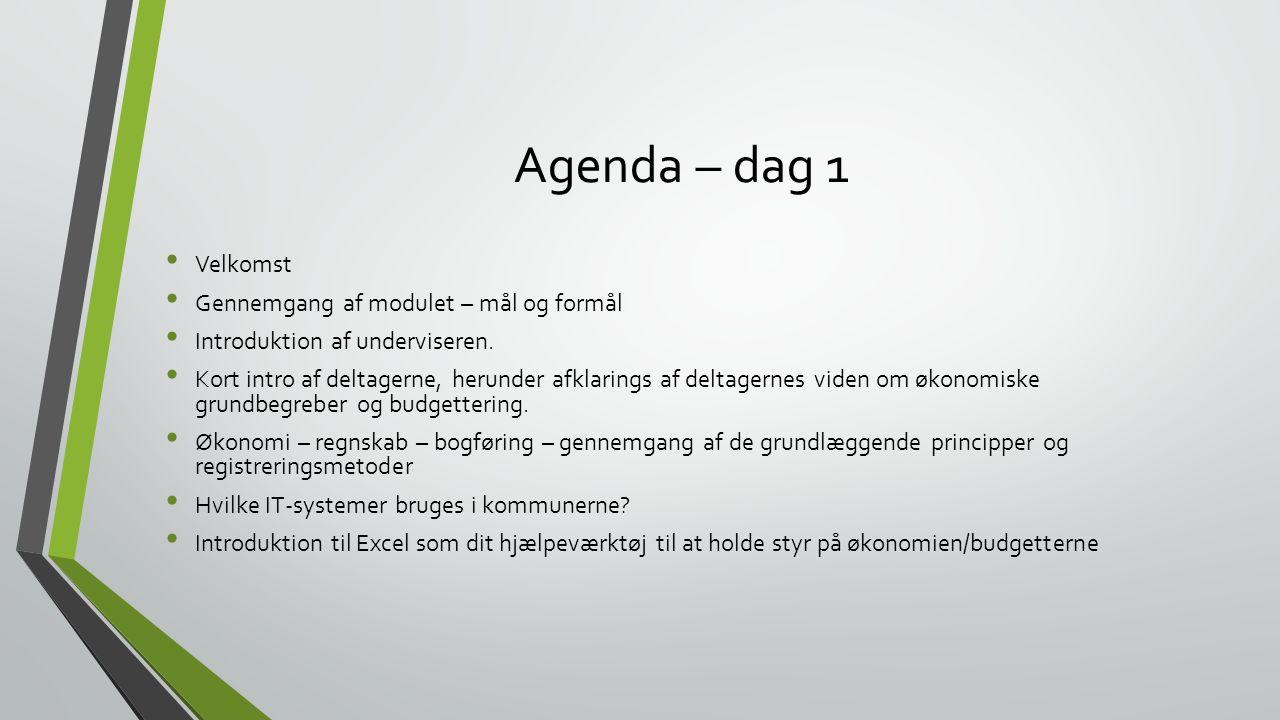 Agenda – dag 1 Velkomst Gennemgang af modulet – mål og formål