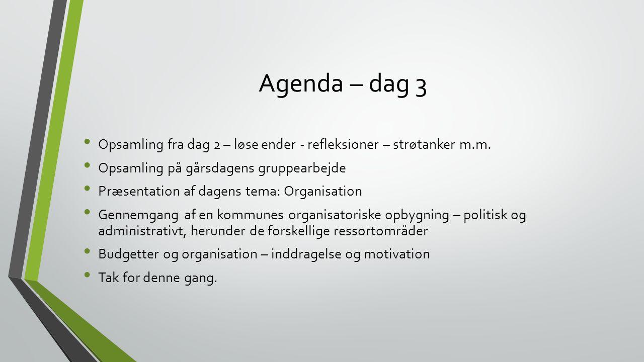 Agenda – dag 3 Opsamling fra dag 2 – løse ender - refleksioner – strøtanker m.m. Opsamling på gårsdagens gruppearbejde.