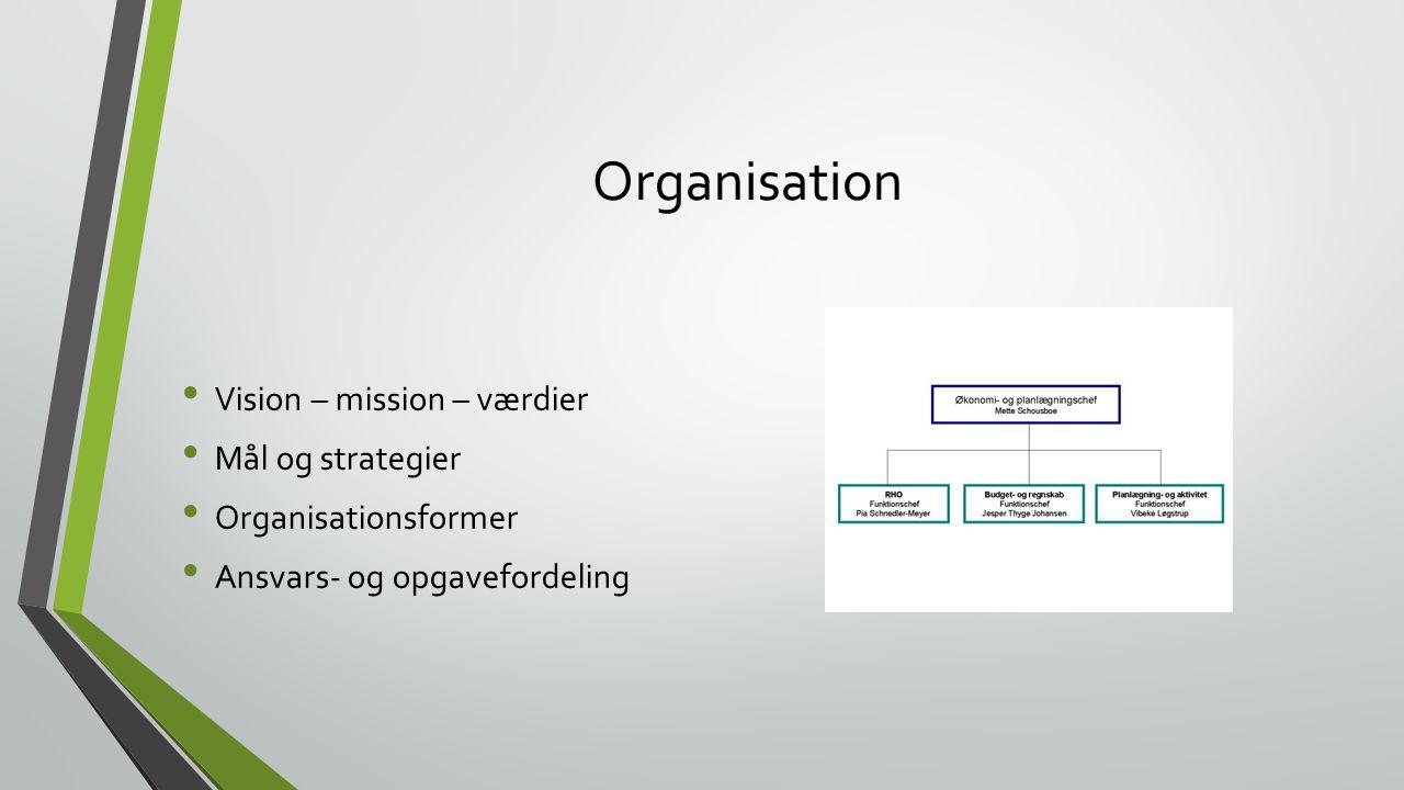 Organisation Vision – mission – værdier Mål og strategier