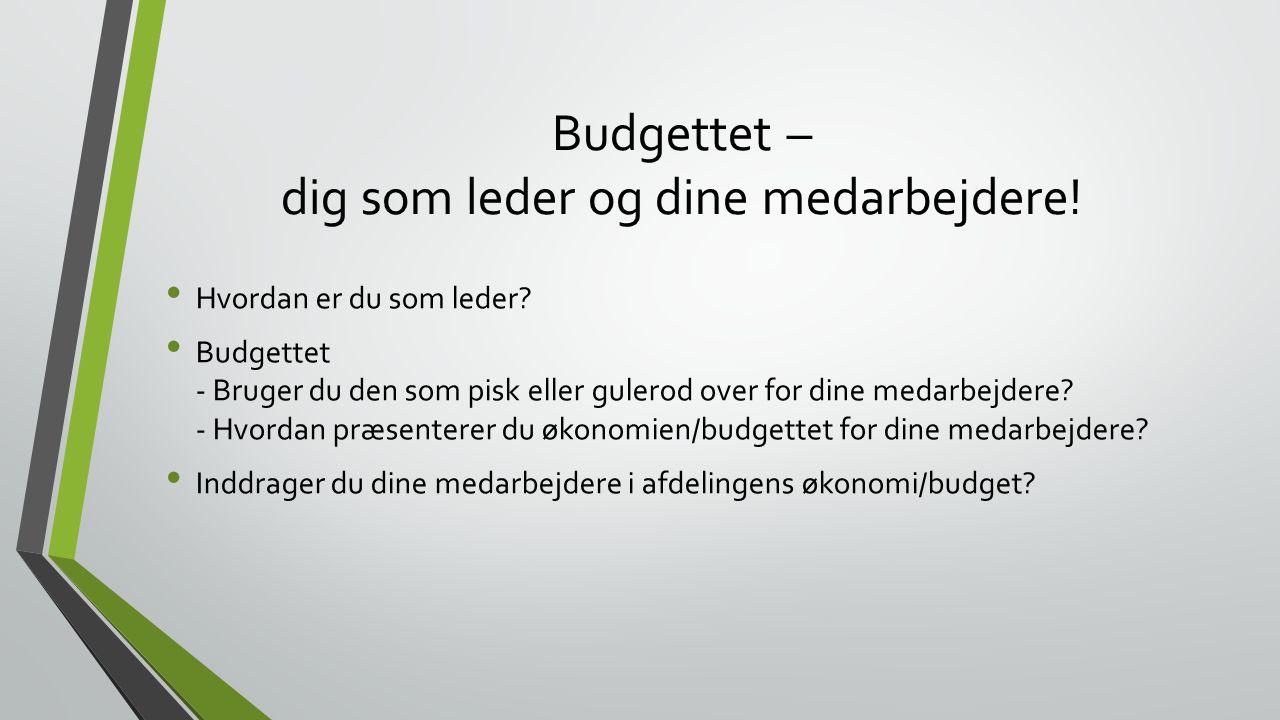 Budgettet – dig som leder og dine medarbejdere!