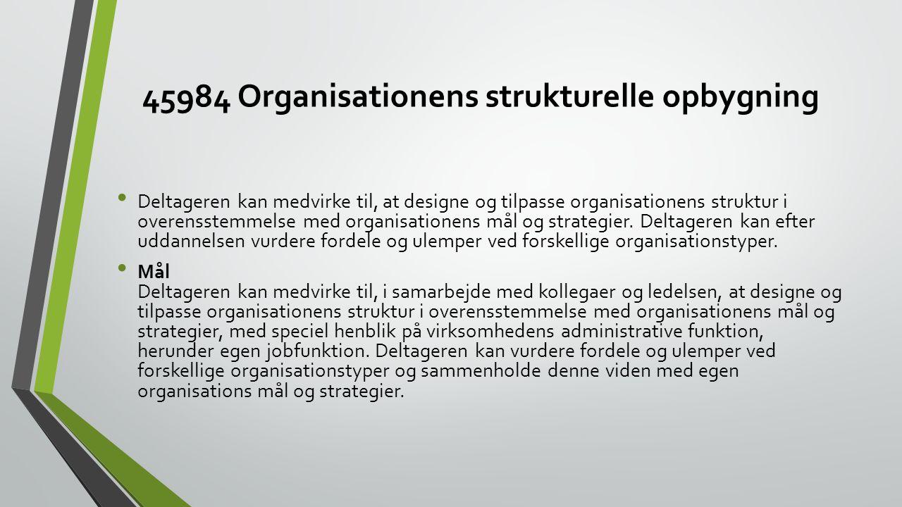 45984 Organisationens strukturelle opbygning