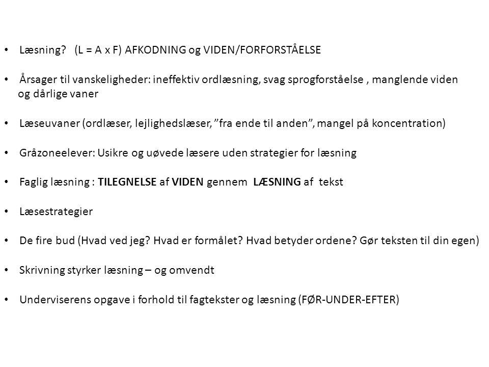 Læsning (L = A x F) AFKODNING og VIDEN/FORFORSTÅELSE