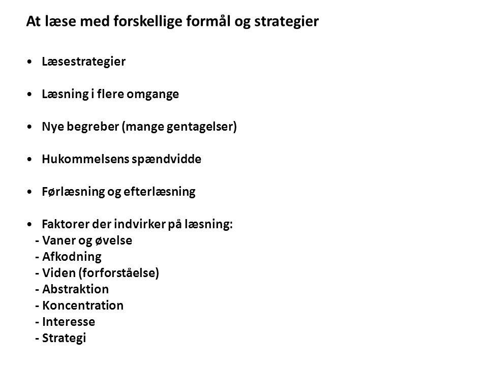 At læse med forskellige formål og strategier