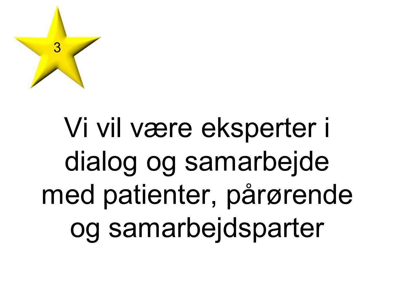 3 Vi vil være eksperter i dialog og samarbejde med patienter, pårørende og samarbejdsparter