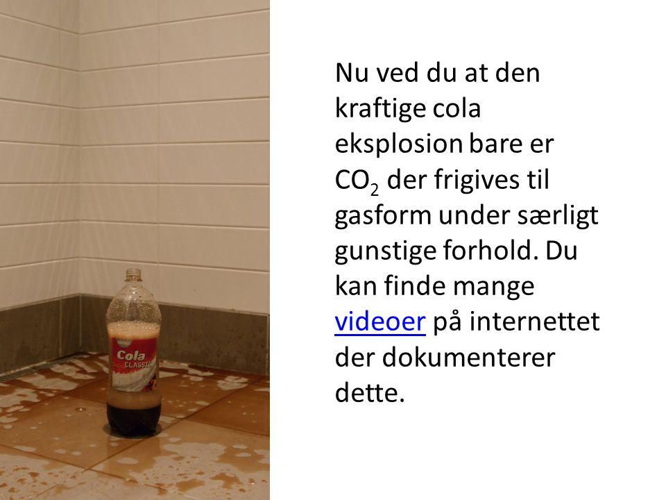 Nu ved du at den kraftige cola eksplosion bare er CO2 der frigives til gasform under særligt gunstige forhold.