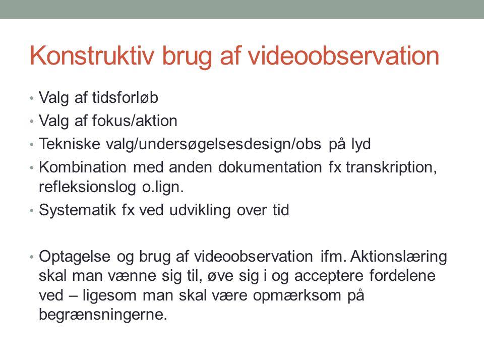 Konstruktiv brug af videoobservation