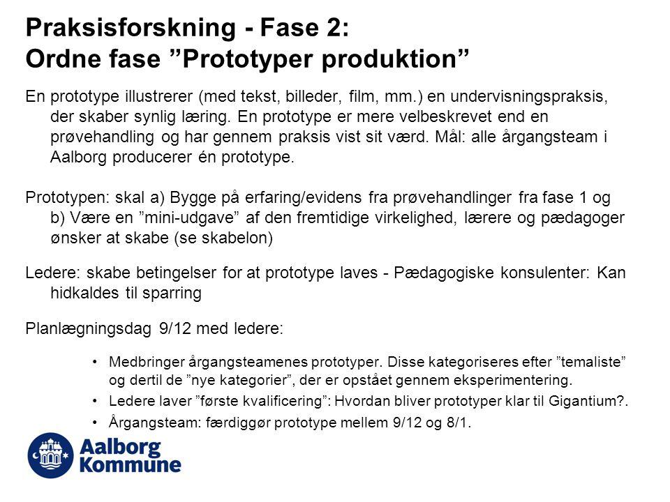 Praksisforskning - Fase 2: Ordne fase Prototyper produktion