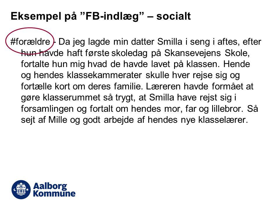 Eksempel på FB-indlæg – socialt