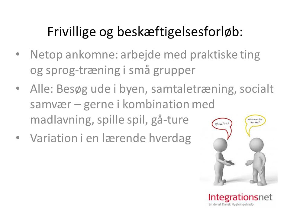 Frivillige og beskæftigelsesforløb: