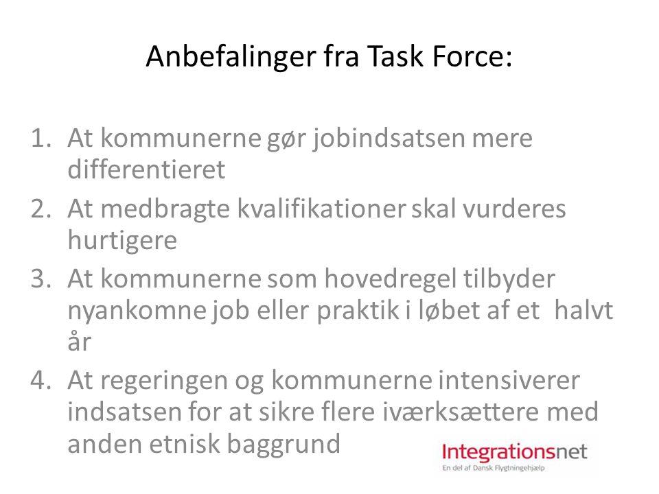 Anbefalinger fra Task Force: