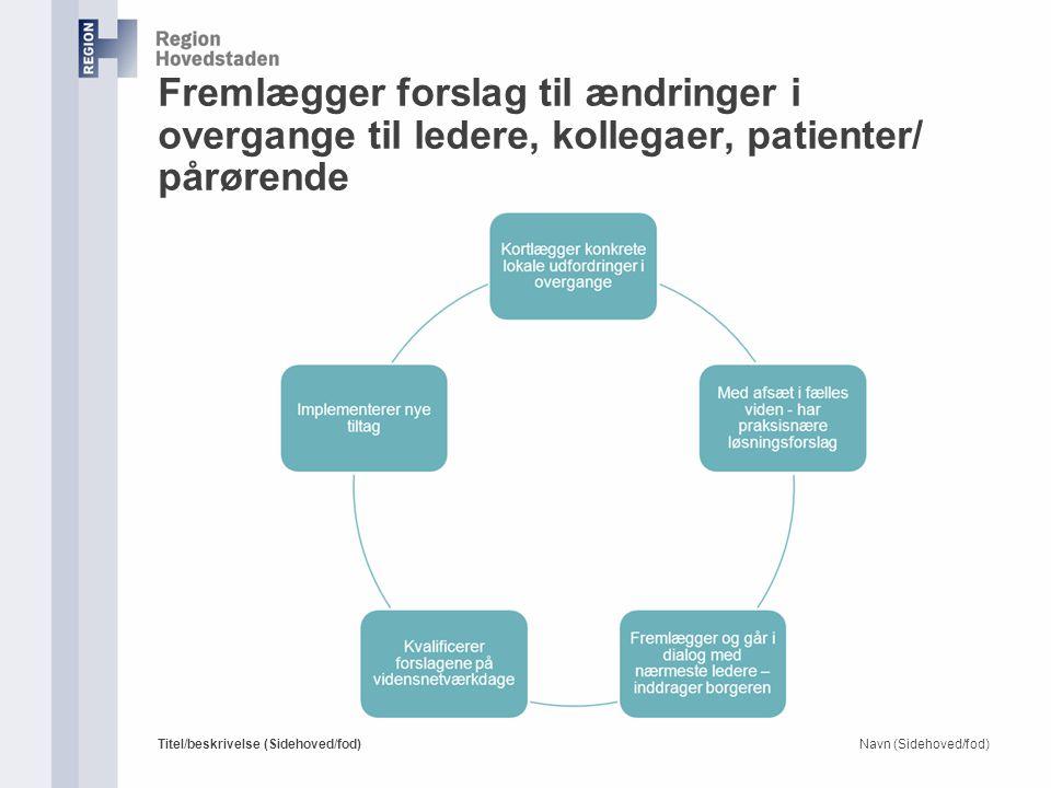 Fremlægger forslag til ændringer i overgange til ledere, kollegaer, patienter/ pårørende