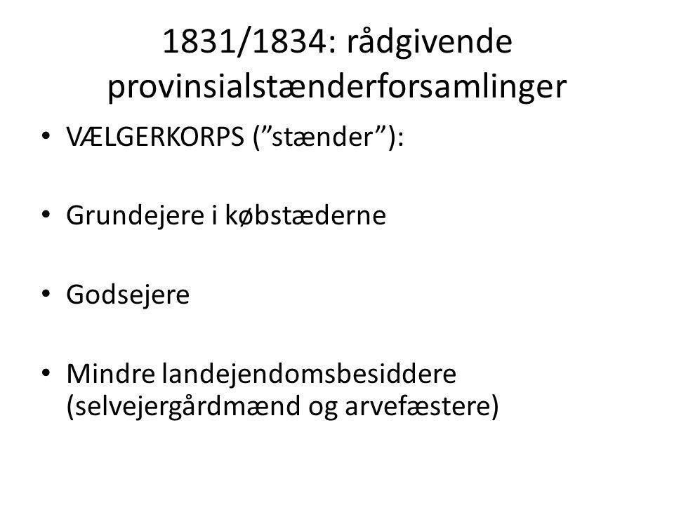 1831/1834: rådgivende provinsialstænderforsamlinger