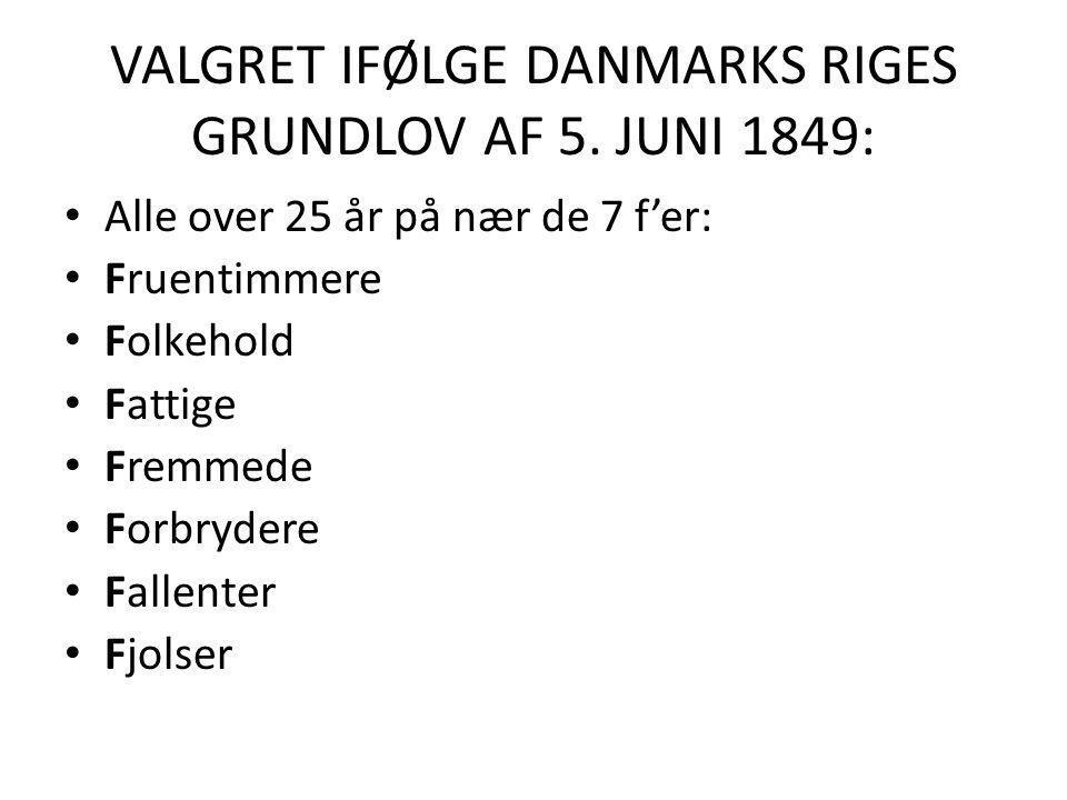 VALGRET IFØLGE DANMARKS RIGES GRUNDLOV AF 5. JUNI 1849: