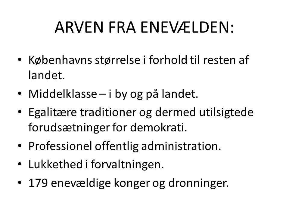 ARVEN FRA ENEVÆLDEN: Københavns størrelse i forhold til resten af landet. Middelklasse – i by og på landet.