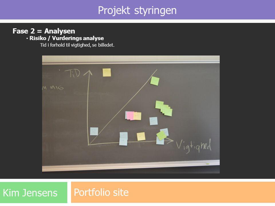 Projekt styringen Portfolio site Kim Jensens Fase 2 = Analysen