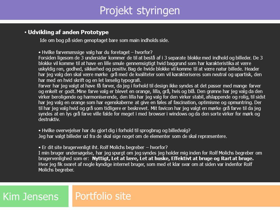 Projekt styringen Portfolio site Kim Jensens